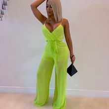 Women Sexy Spaghetti Strap Jumpsuit High Waist Lace Up Playsuit Club Patchwork Mesh Overalls