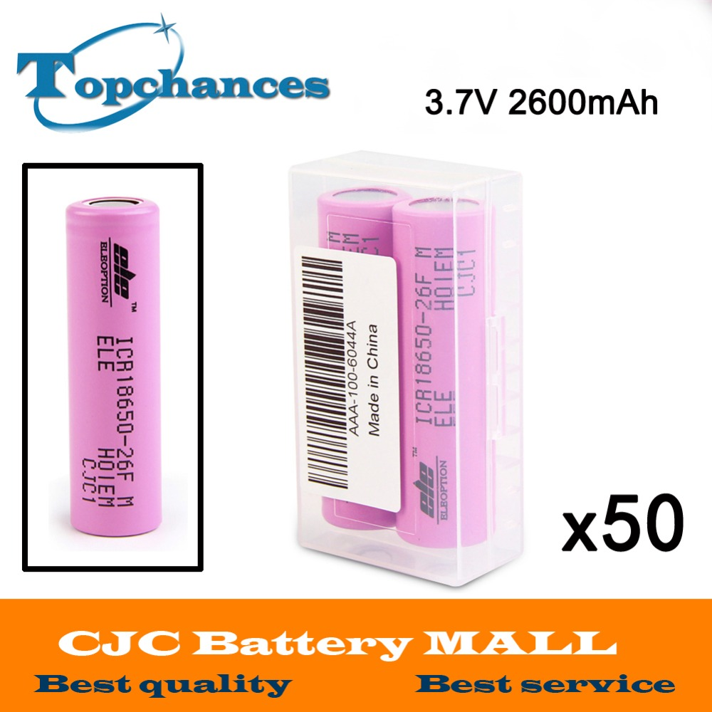 50X 2pcs/lot High Quality 3.7V 2600mAh 18650 rechargeable li-ion Battery ICR18650-26F ICR18650 26F 2600mAh batteries Baterias liitokala 2pcs li ion 18650 3 7v 2600mah batteries rechargeable battery with portable battery box and 2 slots usb smart charger