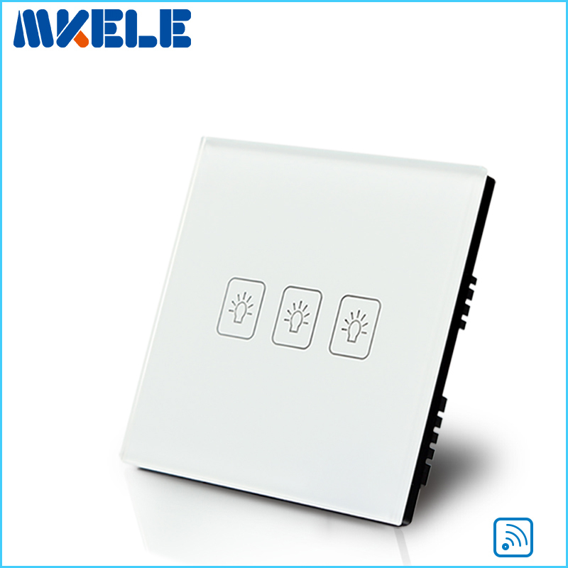 Touch Wall Switch UK Standard 3 Gang1 Way RF Remote Control Light White Crystal Glass Panel uk standard remote touch wall switch black crystal glass panel 1 gang way control with led indicator high quality