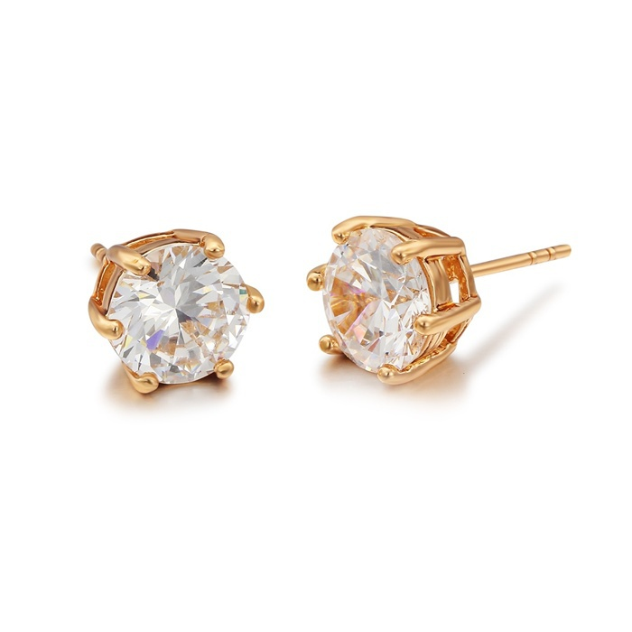 Yellow Gold Plated Cupid Cut 8MM 6 Claw CZ Cubic Zirconia Stud ...