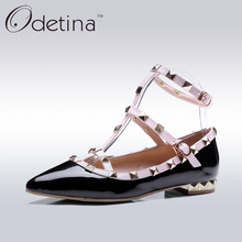 Odetina Women Pointed Toe Rivets Gladiator Shoes Women Patent Leather Ankle Straps Flats 2017 New Summer Ladies Ballerina Flats