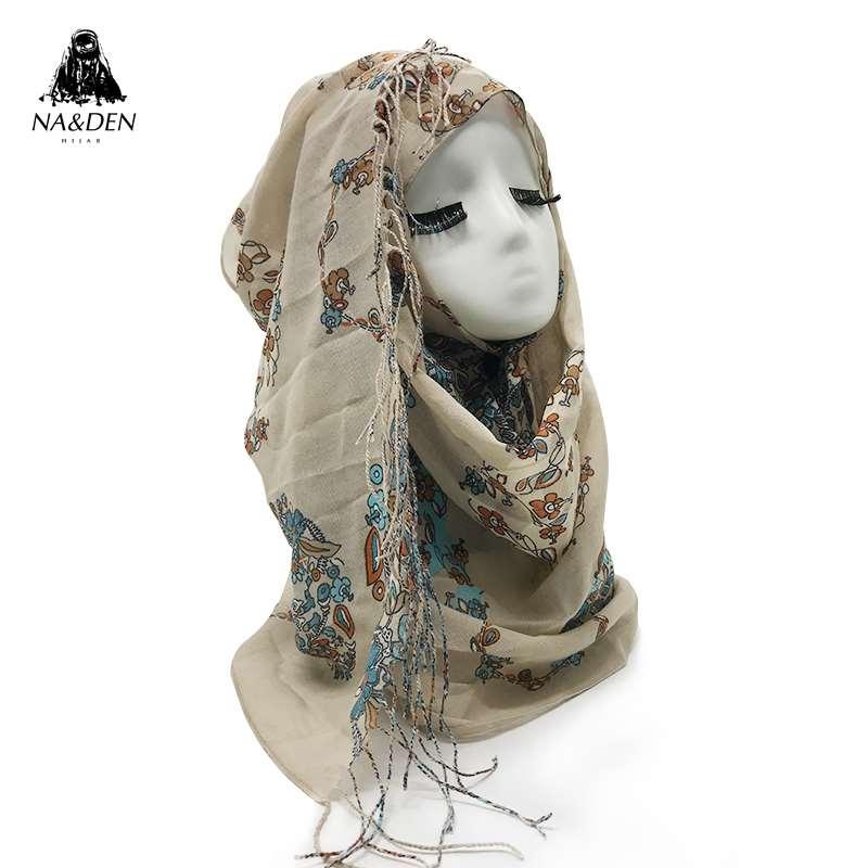 Muslim women Flower Print viscose tassel hijab scarf lady s fashion wraps head scarves eid shawl