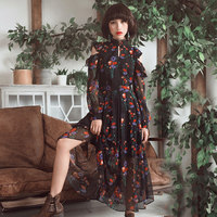 Aporia As New Autumn Women Vintage Royal Wind Long Sleeve Stand Collar Hollow Out Floral Print