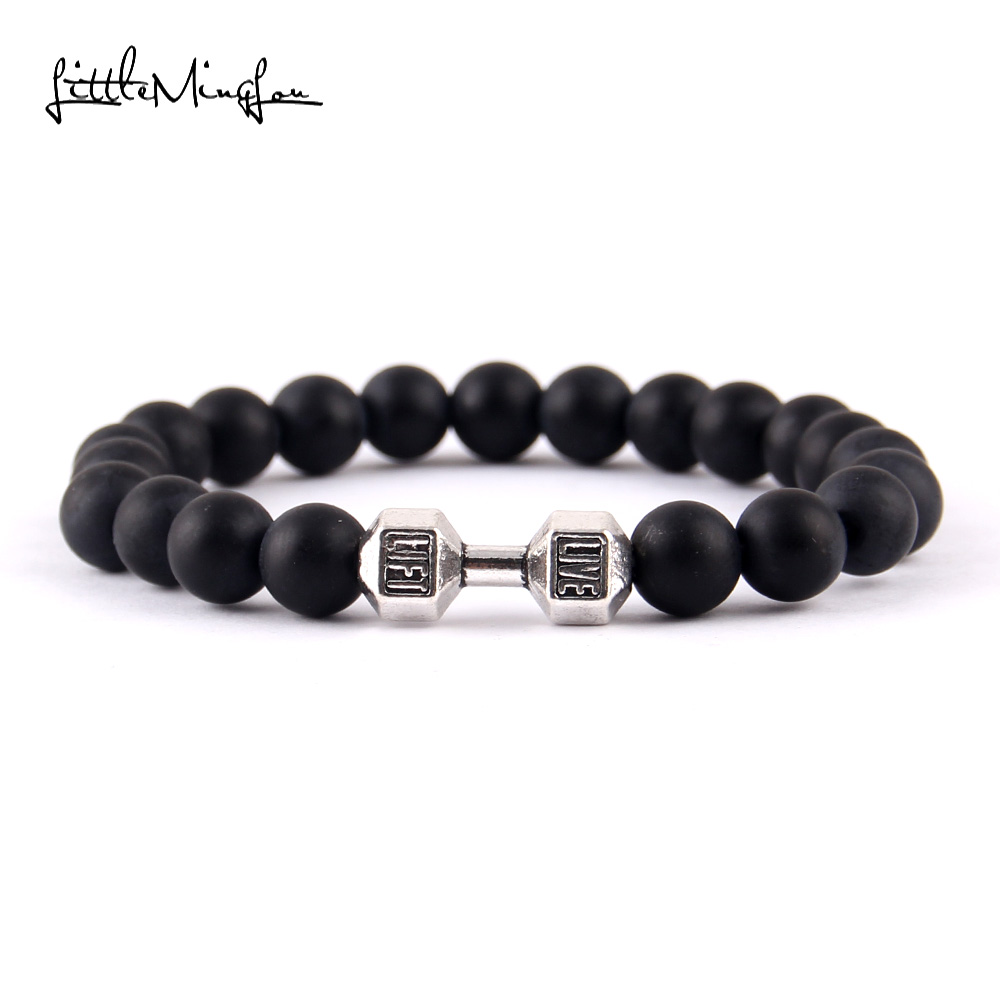 Little Minglittle Fitness haltère Barbell charme gym hommes bracelet - Bijoux fantaisie - Photo 3