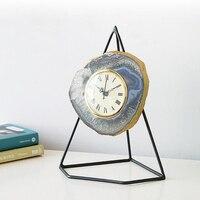 Домашний декор из камня Ремесел Фигурка art design часы металлической полкой натуральный камень роскошный Агат арт