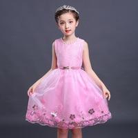 Vestidos de encaje de los niños rojo rosa blanco vestido Formal niños cinturón Elegante ropa Crochet encaje bordado Collar de la Perla del vestido