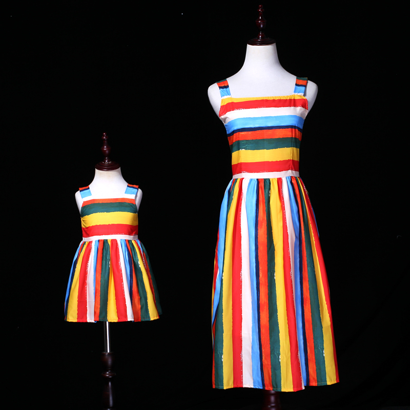 Summer family match clothes mom kids girls dress rainbow striped family look outfit mommy and me RIGA PITTORICA fashion dresses rainbow striped dress