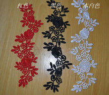 10 Pieces Embroidery Red Black Off-white Flower Lace Applique Patchwork Sewing Crafts Material DIY Venice Appliques Fabric