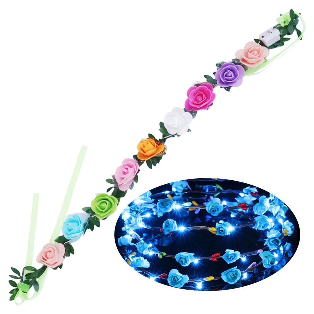 Flower Wreaths For Weddings: Christmas Wreath LED Flower Wreath Headband Crown Floral