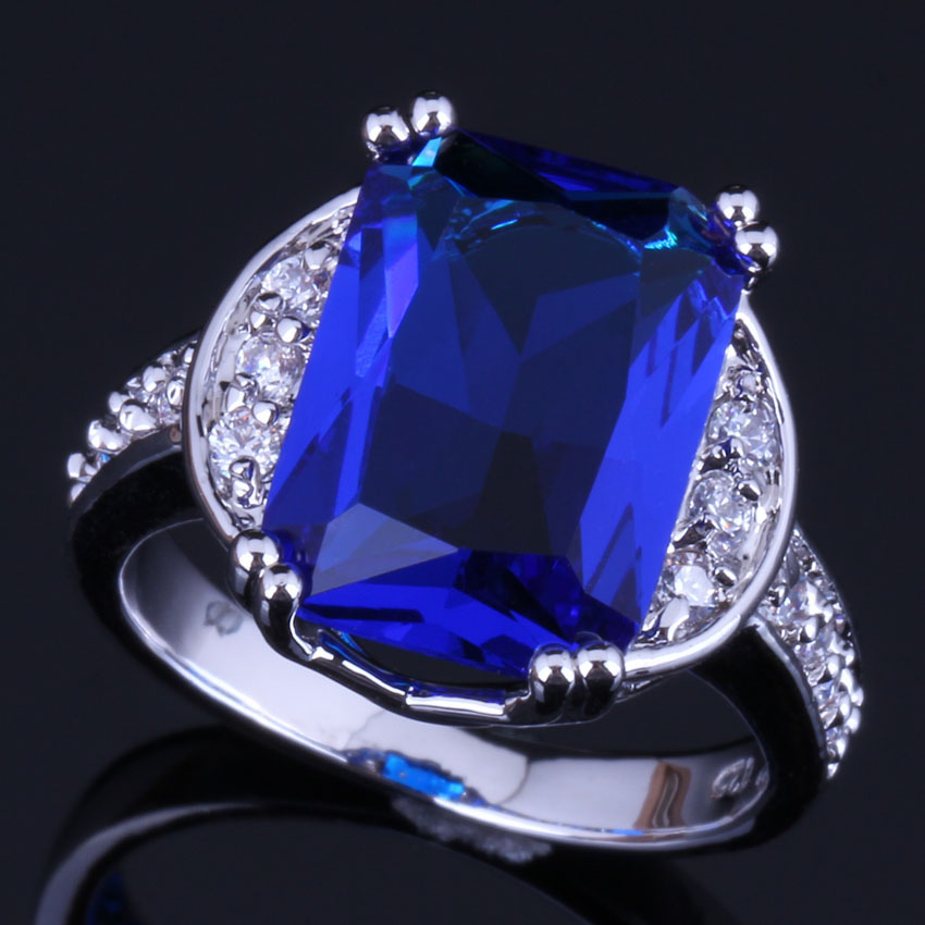 Glamorous Square Blue Cubic Zirconia White CZ 925 Sterling Silver Ring For Women V0607 in Rings from Jewelry Accessories