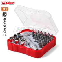 Hi-Spec 30pc Screwdriver Set 1/4 Torque Wrench Socket and Bit L Shape Dual Tips Repair Hand Tool Kit BI001