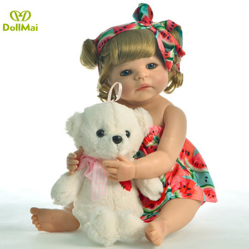 Lifelike Bebes reborn doll soft real gentle touch with bear 22inches 55cm Simulation baby reborn full silicone doll
