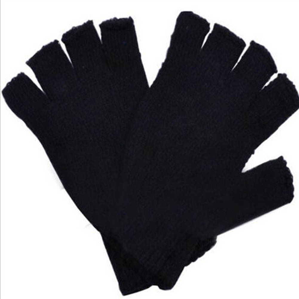 Fashion Free Shipping Black Short Half Finger Fingerless Wool Knit Wrist  Glove Winter Warm Gloves Workout  For Women And Men
