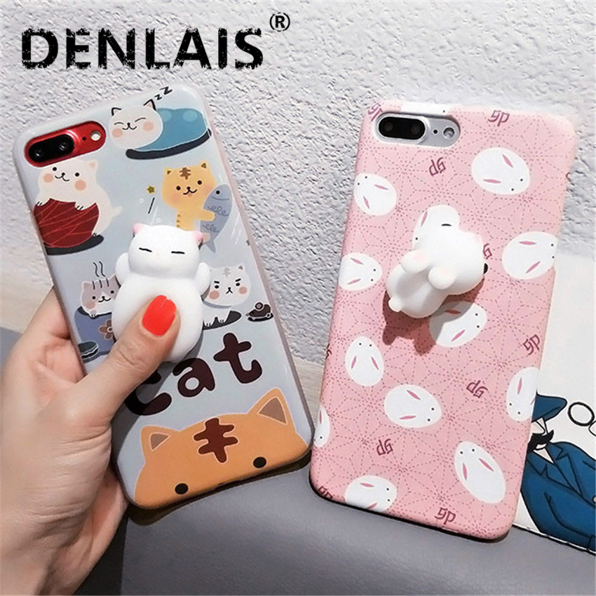 the latest 74990 84084 Cute 3D Squishy Sleeping Cat Paw Rabbit Silicon Cartoon Iphone 5 5S 6 6S  Plus Iphone X 8 7 Plus Back Cover