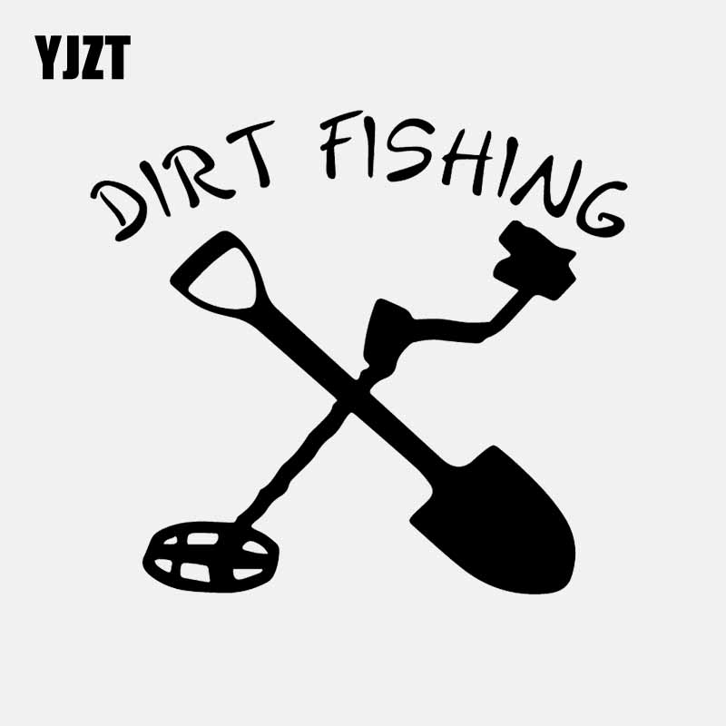 YJZT 16.1CM*14.5CM Metal Detecting Dirt Fishing Decal Vinyl Car Sticker Car Truck Window Black/Silver C24-1065