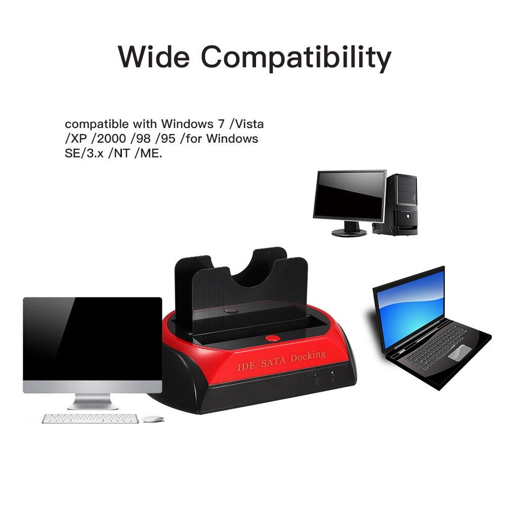 HDD Docking Station Dual Hard Disk Drive Docking Station Base For 2.5 Inch 3.5 Inch IDE/SATA USB 2.0 External Storage