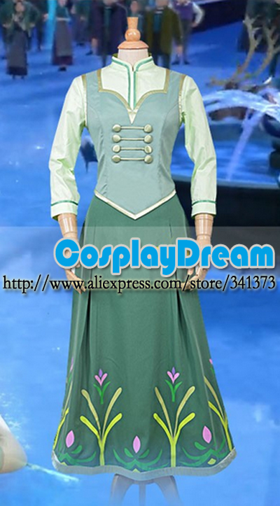 Anna birthday party Dress Elsa Cosplay Costumes Princess Dress Anna Custom Made Halloween Princess Costume