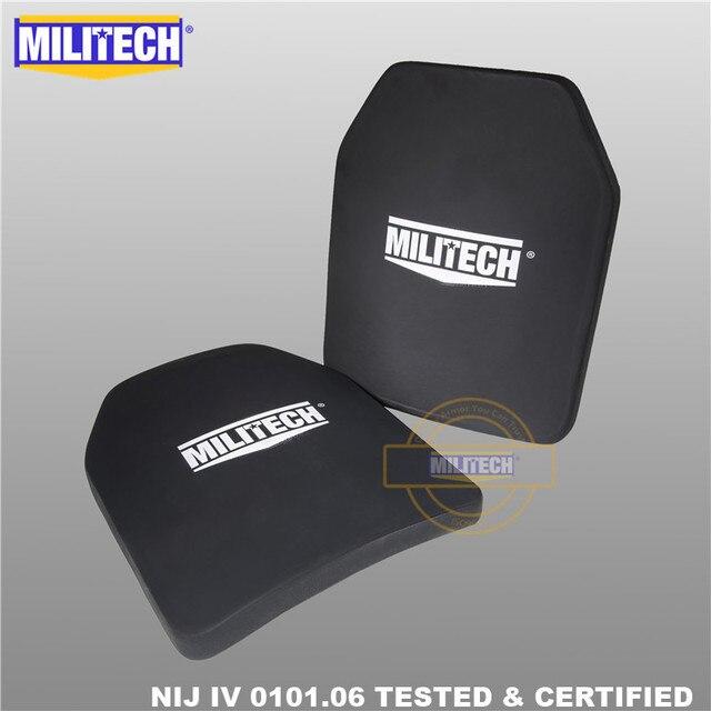 Ballistic Plate Bulletproof Panel NIJ level 4 IV Alumina & PE Stand Alone Two PCS 10x12 Inches Light Weight Body Armor  Militech