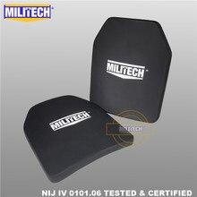Placa balística painel à prova de balas nij nível 4 iv alumina & pe suporte sozinho dois pces 10x12 polegadas de peso leve armadura corporal militech