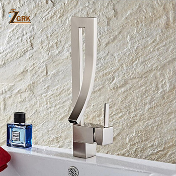 ZGRK Basin Faucets Single Handle Deck Mounted Chrome Brass Square Tall Bathroom Sink Faucet Hot And Cold Mixer Water Tap 9
