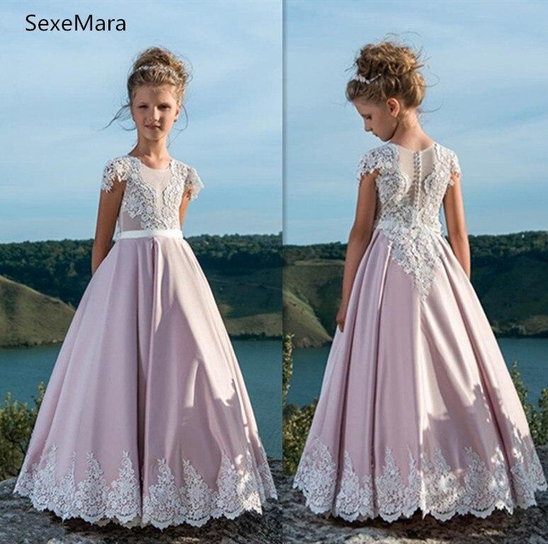 A-Line Flower Girls Dresses For Weddings O Neck Satin Tulle Children Christmas Dress Birthday Party Dress Custom Made