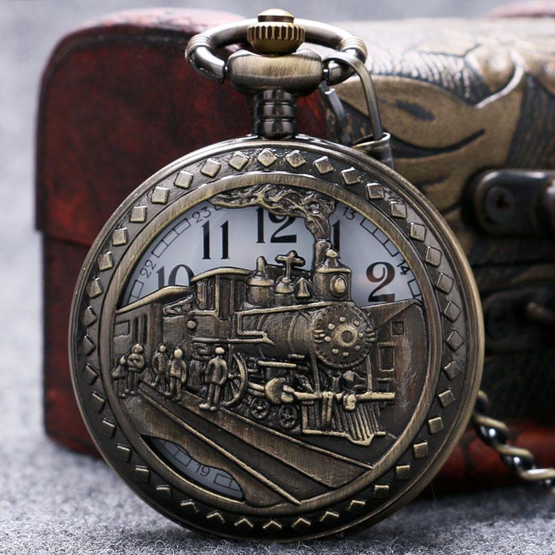 New Industrial Revolution Retro Hollow Bronze Locomotive Design Quartz Pocket Watch With Chain Necklace лонгслив женский stussy tribe hockey tee white