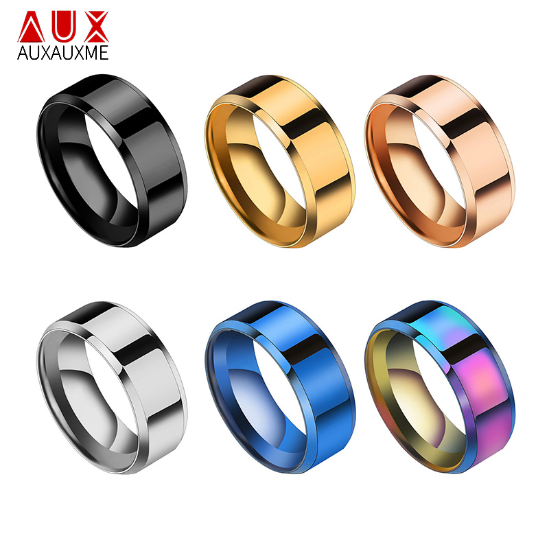 Auxauxme Simple Titanium Steel 8mm Wedding Bands Ring Rianbow/Blue/Rose Gold/Black Party Gift For Men Fashion Jewelry Size 5-13
