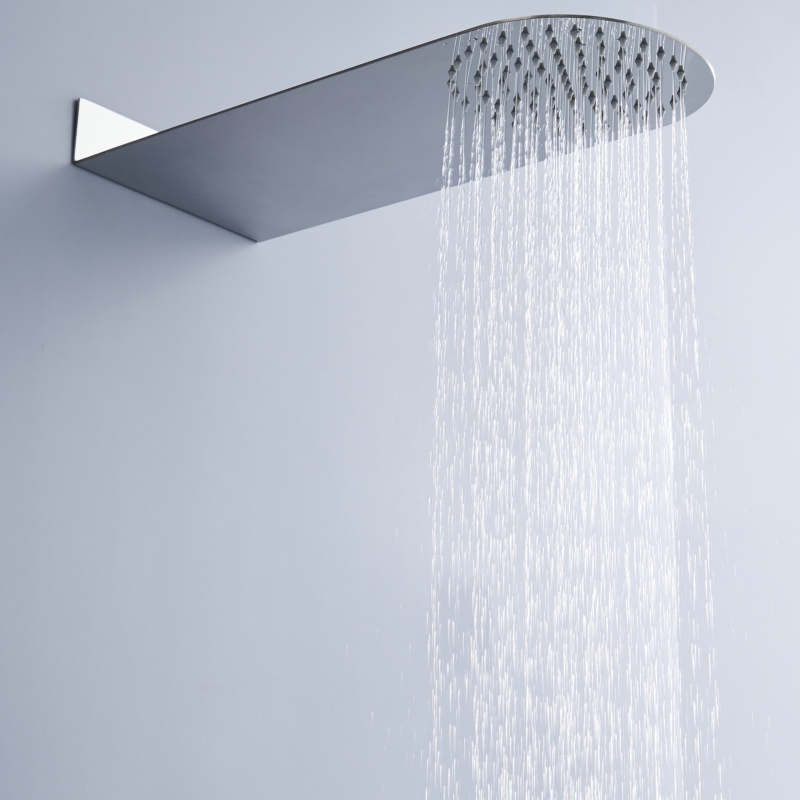 где купить wall mounted round rainfall shower head concealed Ultra thin stainless steel bathroom shower faucet дешево