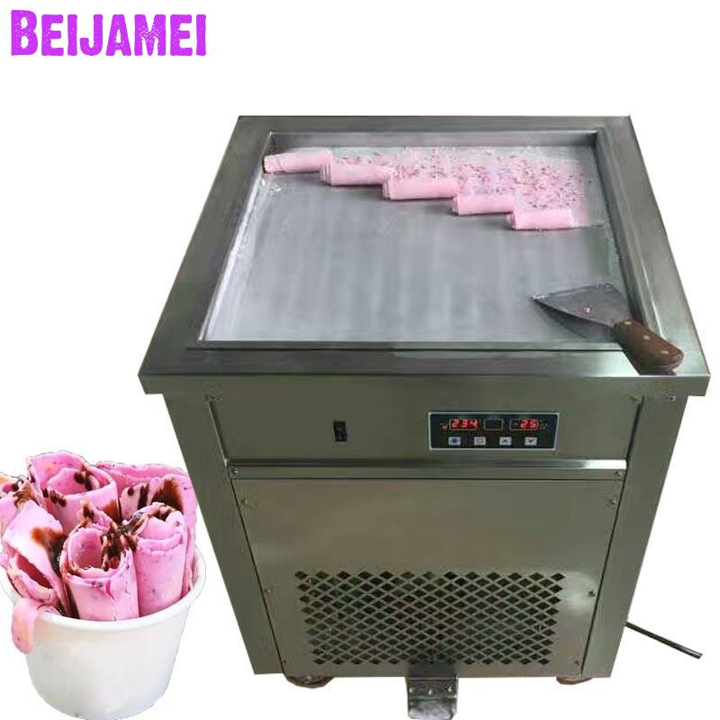 BEIJAMEI Ice Cream Roll Equipment 50cm Big Square Commercial Fried Yogurt Machine 110v 220v Electric Thailand Fry Ice Cream Pan|Ice Cream Makers| |  - title=