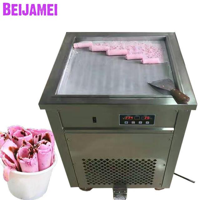 BEIJAMEI Ice Cream Roll Equipment 50cm Big Square Commercial Fried Yogurt Machine 110v 220v Electric Thailand Fry Ice Cream Pan