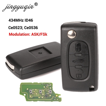Jingyuqin 433Mhz ID46 o FSK kluczyk do samochodu peugeot 207 307 407 208 308 408 607 Partner klucz zdalny 3 przyciski CE0523 Ce0536 tanie i dobre opinie CN (pochodzenie) Chip ID46 Key Remote Control ABS + Metal + Circuit board China For Peugeot PCF7961 PCF7941