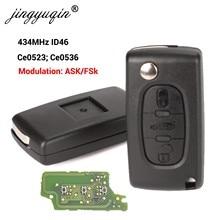 Jingyuqin 433 МГц ID46 ASK FSK Автомобильный ключ для peugeot 207 307 407 208 308 408 607, пульт дистанционного управления с 3 кнопками CE0523 Ce0536