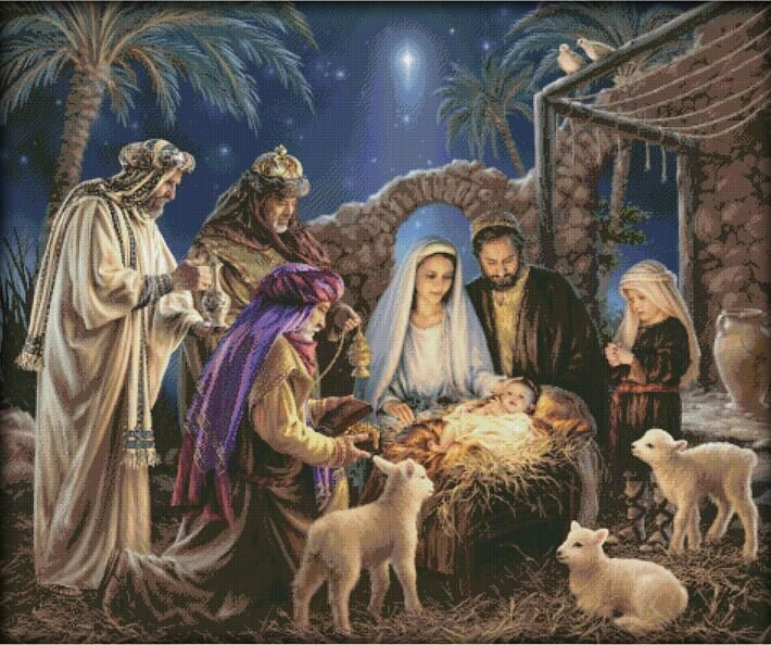 The Birth Of Baby Jesus Counted Cross Stitch 11ct Printed Cross