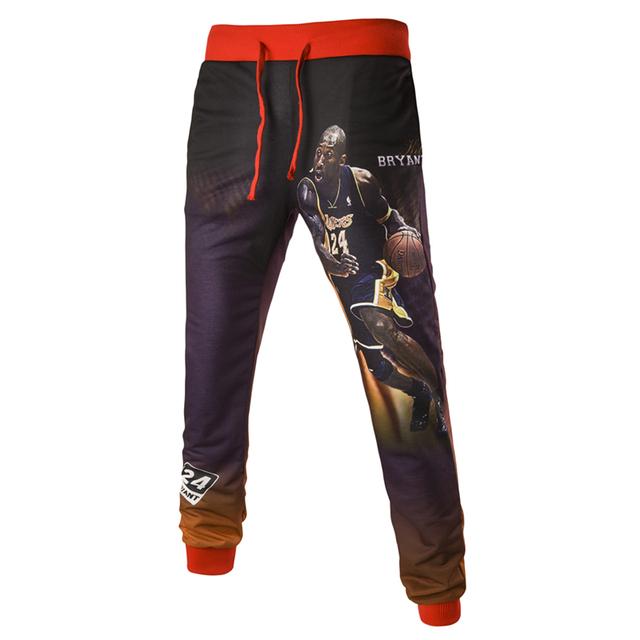 Novo 2016 Impressão Slim Fit Calças Calça Casual Homens Kobe homens Sweatpants Hip Hop Harem Calças Outwear Moda Mens Corredores A8812