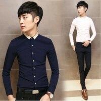 201 5men חולצות שמלת שרוול ארוך בגדי מעצבי בגדים מזדמנים חולצת האופנה הגברים slim fit אסיה