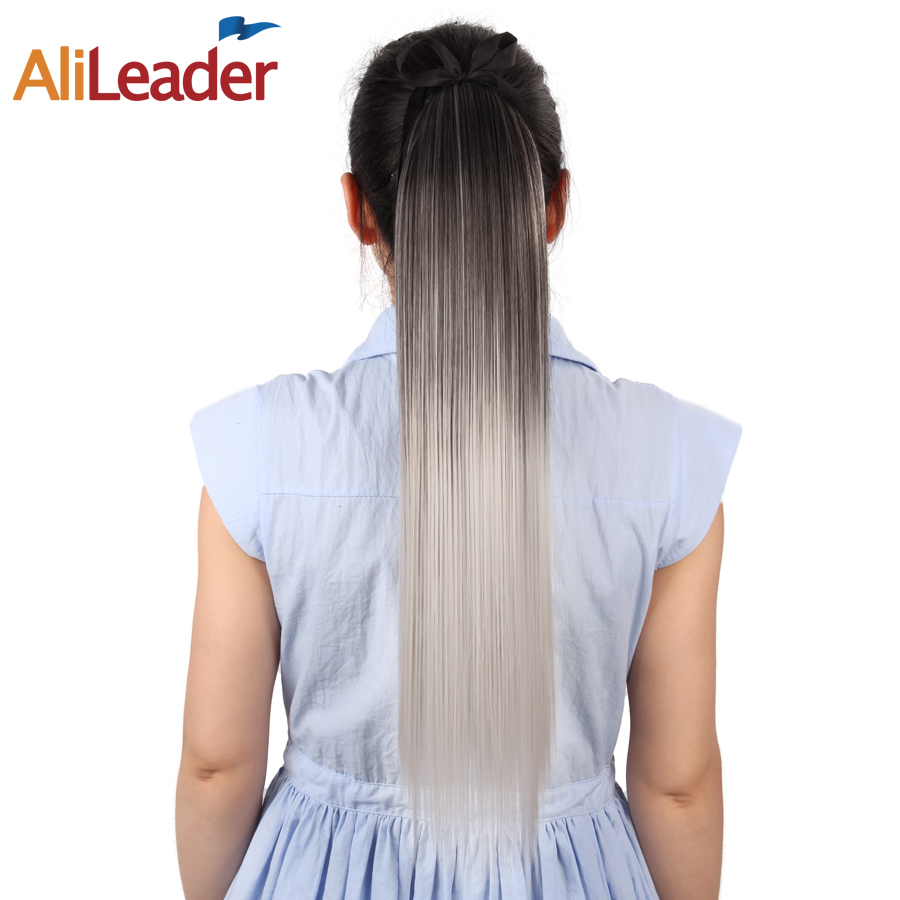 "AliLeader Ombre ארוך ישר קליפ תוספות שיער קוקו 100 גרם 51 ס""מ שיער זנב פוני סינטטי בטמפרטורה גבוהה תקורה"