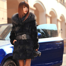 HOT Fashion new Ladies' Rabbit Fur coat,Elegant women's fur overcoat Girl's rabbit coat fur jacket FZ019
