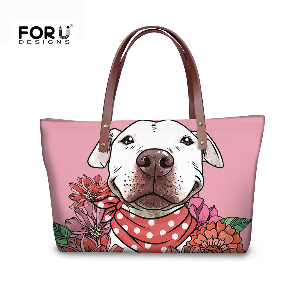FORUDESIGNS Cute Beagles Top-handle Bag Luxury Handbags Women Bags 2018 Designer For Girls Youkshire Terrier Pit Dog Print Totes cute letter print side boob tank top for women