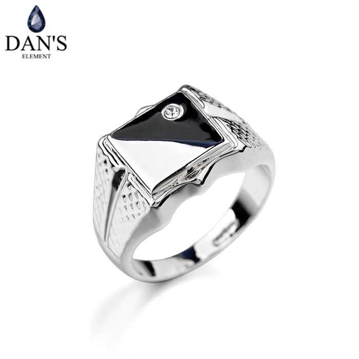 Dan's Element Brand Austrian Crystal White Gold Color Vintage Rings for men  Fashion wedding New Sale #RG12062W