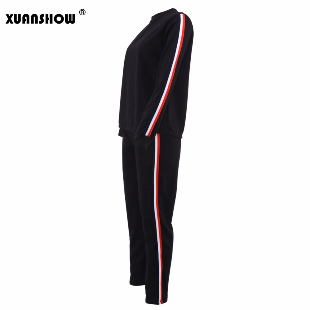 XUANSHOW 2018 New Sping Autumn Striped Two Piece Set Tracksuit for Women Sweatshirts Top and Pants Womens Casual Fashion Outfits ...