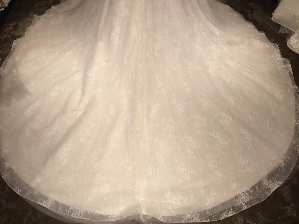 A-line Spets Bröllopsklänningar med Court Train 2018 V-Neck - Bröllopsklänningar - Foto 4