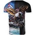 MarKyi 2017 New Eagle Head Pattern 3D-Print T shirt  Novelty Hip Hop Clothing Fight Color T-shirt Men Casual cotton T-Shirt