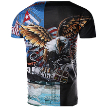 MarKyi 2017 New Eagle Head Pattern 3D-Print T shirt  Novelty Hip Hop Clothing Fight Color T-shirt Men Casual cotton T-Shirt