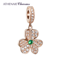 ATHENAIE 925 Silver with Pave Clear CZ Rose Gold Shamrock Hearts Faith Love Hope Pendant Drops Charms Bead Fit Bracelets Bangles