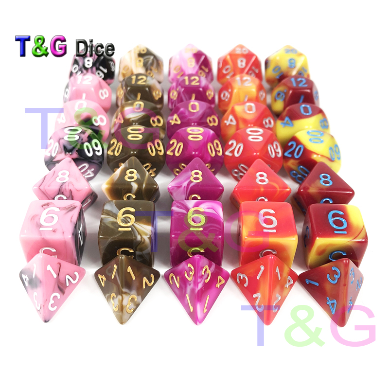 High Quality Mix Color Multi Sided Dices 7 Dice Set For D&D RPG Games Camping Travelling Kids Party Game As Gift