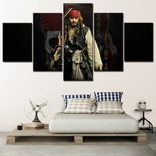 Movie Poster 5 Panel Pirates Of The Caribbean Painting Modern Artwork Home Decor Living Room Wall Art Modular Picture