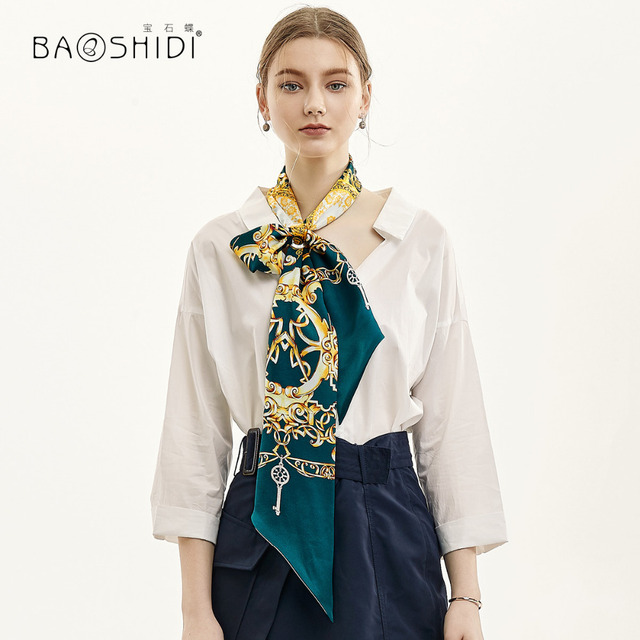 [BAOSHIDI] 2019 Moda Primavera Duplo Rosto Magro, 100% Fita de cetim de Seda, Lenço Elegante, acessório do cabelo senhora cachecol mulheres
