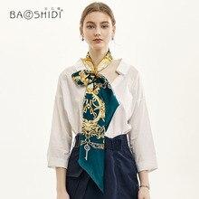 [ BAOSHIDI] 2019 Spring Fashion Double Face Skinny, 100% Silk satin Ribbon,Elegant Neckerchief,lady hair accessory scarf women