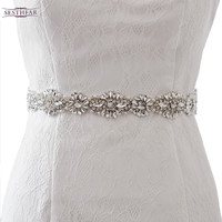 S237 Free shipping stock 100% Pure handmade Dazzling Crystal Rhinestone Bridal Belt Wedding Bridal Sash