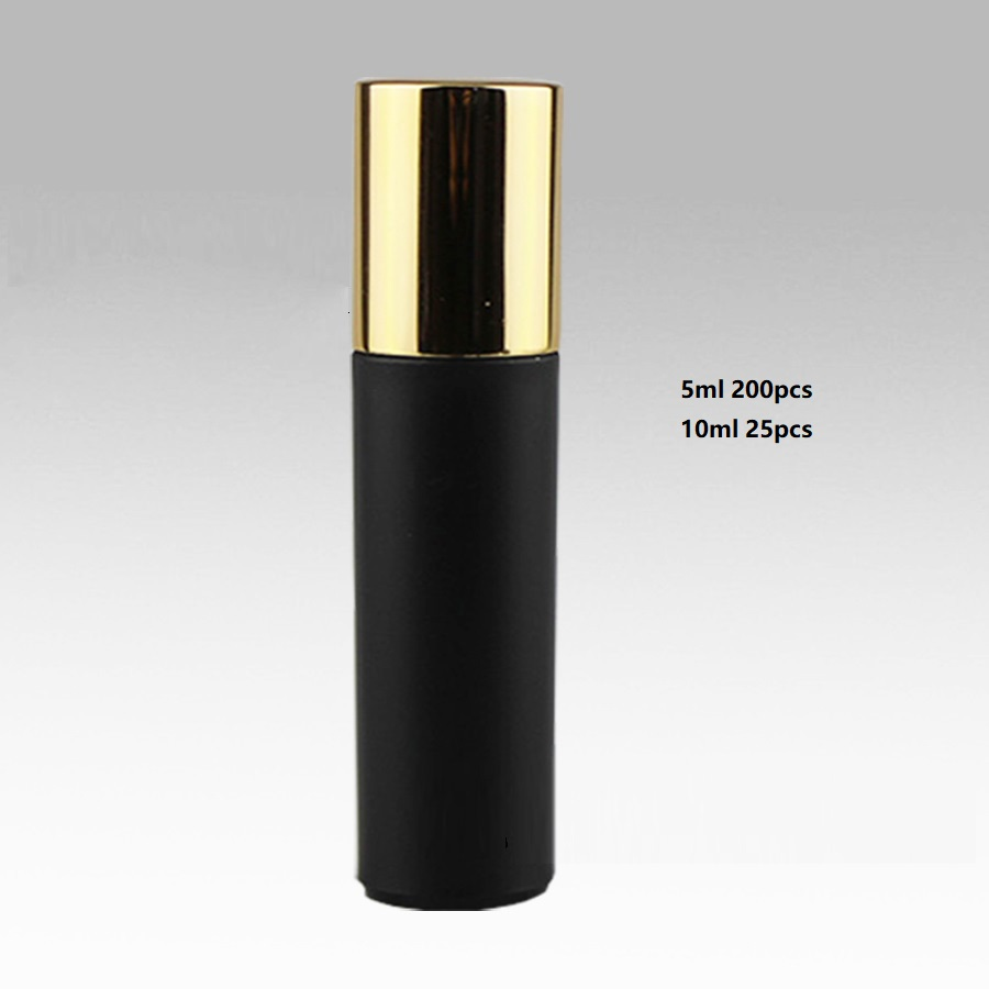 5/10ml Roller Bottles,Black,Steel bead,Empty Roll on Bottle for Essential Oil,Perfume,Mini Samples Cosmetic Packing Container